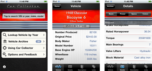 Classic Car Collector iPhone App